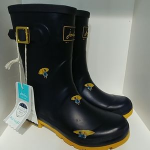 Joules Molly Welly Navy duck print size 7